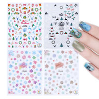Christmas 3D Stickers Nail Art Transfer Decals Snowflakes Deer Jingle Bell DIY