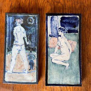 Eric James Mellon; 2 stoneware tiles, plaques, ash glazed