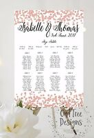Personalised light rose gold Confetti Wedding Table Plan/ Seating Chart A3 A2 A1