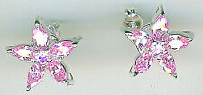 "925 Sterling Silver Pale Pink Cubic Zirconia Cluster Stud Earrings 15mm 3/5"" dia"