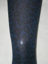 Midnight Blue & Black Leopard Skin Print Ladies Tights. 8-12 NEW punk 80s