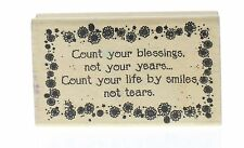 Hooks Lines and Inkers Count your Blessings Wooden Rubber Stamp