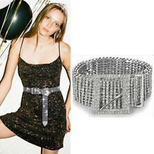 Women Crystal Rhinestone Shiny Chain Waist Belt Party Club Gold Silver Waistband