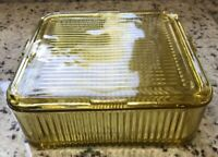 """VINTAGE Federal AMBER Glass RIBBED REFRIGERATOR Dish 8"""" SQUARE Container Lid MCM"""