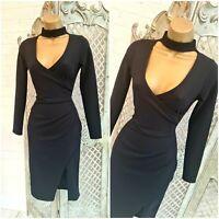 I X LONDON 💋 UK 8 Sexy Black Choker Stretch Mock Wrap Wiggle Dress ~Free P&P ~