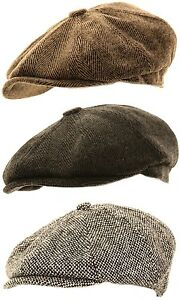 Mens Herringbone Baker Boy Caps Newsboy Hat Country Style Gatsby / Flat Cap