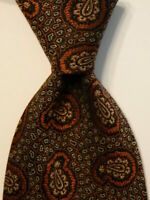 GIORGIO ARMANI Cravatte 100% Silk Necktie ITALY Designer Geometric Blue/Tan EUC