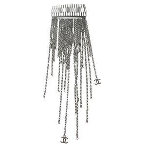CHANEL Vintage CC Logos Hair Comb Silver France Accessories Authentic AK33245d