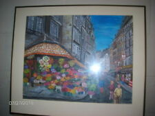 "Original Marcella Lewin Signed Artwork Paris Street Scene ~ Framed ~ 24"" x 20"""
