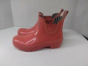 Joules Wellibob Short Rain Boots Black with Pink Women Size 8 Garden Shoe