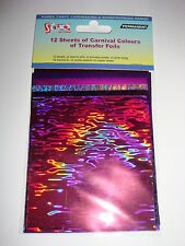 12 SHINY FOIL TRANSFER SHEETS - Carnival colours  11cm x 9cm