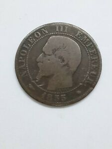 1855 A France 5 Centimes Coin Napoleon III  Vey nice condition for its age.
