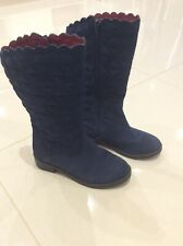 Girls Lands End Navy Suede Leather Long Boots Size 12UK