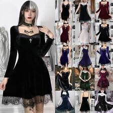UK Womens Long Sleeve Gothic Velvet Lace MINI Dress Lolita Girls Party Halloween