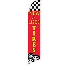 New & Used Tires Red Swooper Flag ADVERTISING FEATHER SWOOPER BOW BANNER FLAG
