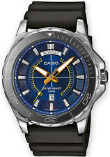 Casio MTD-1076-2A Mens 100M WR Diver Watch Black and Blue Sports Day Date New