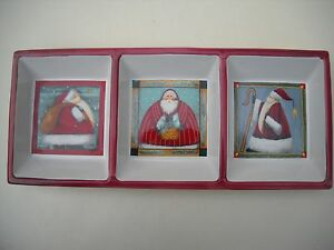 Porcelain Santa Claus Three Section Serving Tray Very Cute!