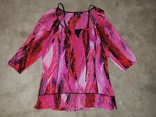 Style & Co. Womens Pink Glitter 2 Pcs Tank 3/4 Sleeve Career Blouse Top Petite M
