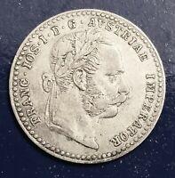 1869 AUSTRIA Roman Emperor Franz I Genuine Silver 10 Kreuzer Austrian Coin.