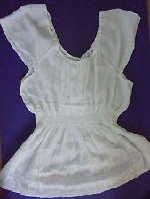 ADVANCE 2X New~cap-sleeve tunic top blouse  NWT 100% Cotton White INDIA