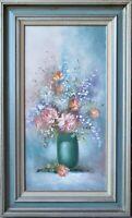 VINTAGE ORIGINAL OIL PAINTING FLOWERS IN VASE SIGNED EMILY FRAMED