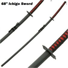 "Ichigo Bankai Cutting Moon 68"" Bleach Sword black Katana steel blade cosplay set"