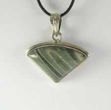 Green Jasper Stone Pendant Necklace .925 Sterling Silver Triangle Shaped