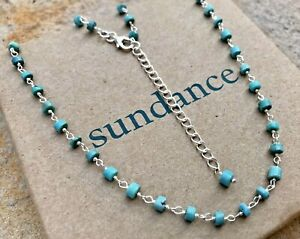 """NEW Sundance 18-20-22-24"""" Turquoise Sterling Silver Beaded Chain Necklace NWT"""