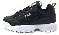Fila Boys Disruptor II 3D Embroider Athletic Sneakers Black White Size 5.5 M US
