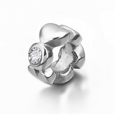Stainless Steel Heart European Bead Charm With CZ For European Charm Bracelets