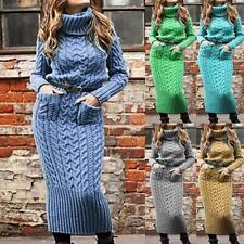 Women Winter Slim High Neck Long Sleeve With Pocket Comfort Knit Sweater Dresses