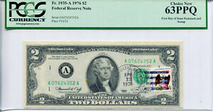 1976 $2 FRN Boston A07624352A First Day Issue Postmark Stamp Cancel PCGS 63PPQ