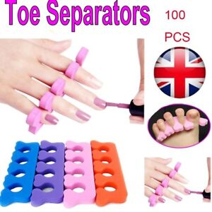 UK 100X Foam Toe Separators Soft Sponge Finger Dividers Pedicure Nail Painting