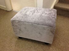 Footstool / Small Stool / Pouffe / Dove Grey Crushed Velvet British Made