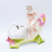 "Antique French Porcelain Bisque Maiden w/ Swan Flower Carriage Vase Planter 6""L"