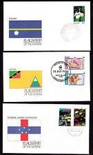 17920/ UNO Flaggen der Nationen - 3 Umschläge - Nauru, Nevis, Niederländische An