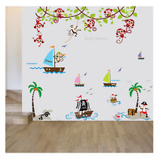 Monkey Pirate Wall Stickers Animal Jungle Boat Ship Nursery Baby Kids Room Art