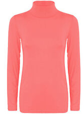 LADIES WOMENS POLO NECK TOP STRETCH LONG SLEEVE TURTLE NECK TOP JUMPER 8-26