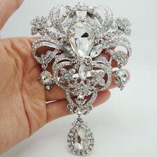 Bride Luxurious Flower Drop Pendant Brooch Pin Clear Rhinestone Crystal