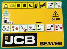 JCB HYDRAULIC BREAKER FRONT PANNEL  YELLOW STICKER DECAL BEAVER FREE POSTAGE'