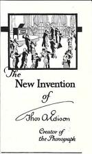 THE NEW INVENTION OF THOS. A. EDISON  - ADVERTISEMENT & INFORMATION - REPRINT