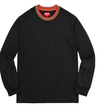 BRAND NEW MEN'S SUPREME STRIPED RIB LONG SLEEVE TOP SHIRT T-SHIRT BLACK SMALL