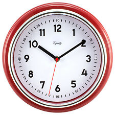 """20867 Equity by La Crosse 11.5"""" Silent Sweep Retro Dial Analog Wall Clock - Red"""
