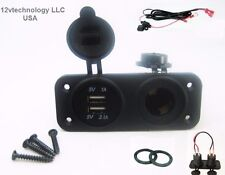 New Dual USB Charger and Socket Panel Mount Marine 12 Volt Power Outlet w/ Wires
