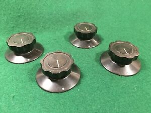 4 Vintage Wireless Radio Lab Apparatus Black Bakelite Skirted Knobs, Bulgin ?