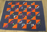 Patchwork Crib Quilt, Hand Made, Four Patch With Rectangles, Calico Prints, Blue