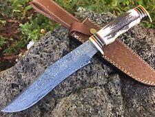 HUNTEX Handmade Damascus 13 Long Deer Antler Bush Craft Bowie Hunting Dagger