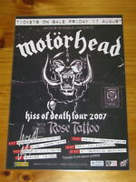 MOTORHEAD - 2007 KISS OF DEATH TOUR - LEMMY SIGNED AUTOGRAPHED  Laminated Poster