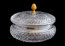 Antique French Diamond Cut Crystal Ormolu Pineapple Final Candy Jewelry Jar Box