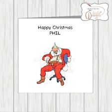 Personalised Xmas Card Drunk Hungover Office Christmas Party Santa Funny Adult